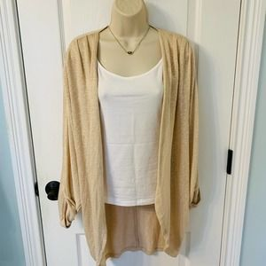 Francesca's Alya Oatmeal Knit Back Design Cardigan